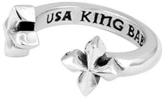 King Baby Studio Women's 925 Sterling Silver Open MB Cross Ring - Size L