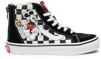 5afee5436a94 Vans x Disney  Sk8-Hi Zip  Mickey Mouse applique checkerboard kids sneakers