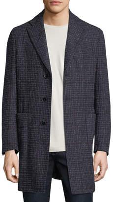 Neiman Marcus Boucle Plaid Single-Breasted Coat