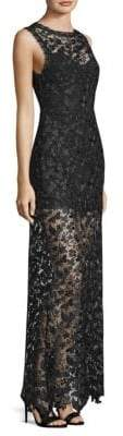 Alice + Olivia Danielle Lace Sheer Maxi Dress