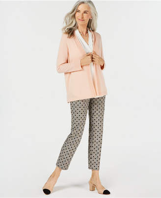 Charter Club Pure Cashmere Long-Sleeve Completer Sweater with Trim, Created for Macy's