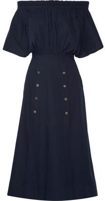 Saloni - Dakota Off-the-shoulder Stretch Cotton-poplin Midi Dress - Navy $615 thestylecure.com