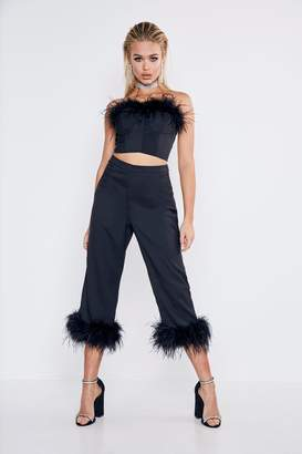 boohoo Premium Feather Trim Tailored Cropped Pants