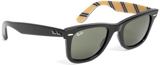 Brooks Brothers Ray-Ban Wayfarer Sunglasses with Yellow BB#1 Rep Stripe