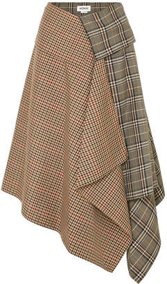 Monse Asymmetric Paneled Checked Wool-blend Midi Skirt - Tan