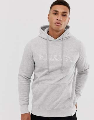 Pull&Bear logo hoodie in gray
