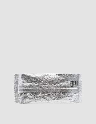 MM6 MAISON MARGIELA Crinkled Leather Clutch in Silver