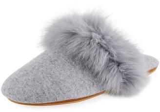 Neiman Marcus Cashmere Fox Fur-Trim Mule Slippers
