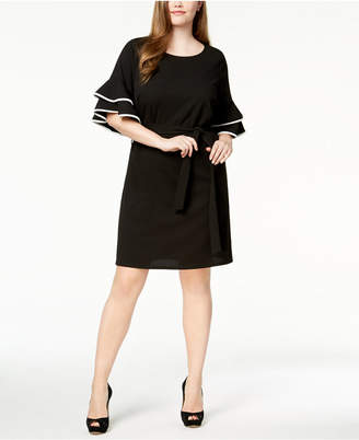 Love Squared Trendy Plus Size Flounce-Sleeve Sheath Dress