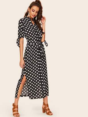 Shein Polka Dot Split Shirt Dress