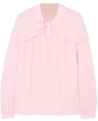 Maje Pleated Crepe Blouse - Pink