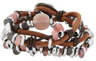 Uno de 50 My Way Beaded Crystal Multi Strand Knotted Leather Bracelet