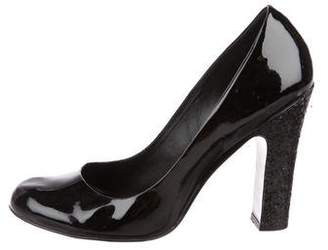 Tory Burch Patent Leather Glitter-Accented Pumps