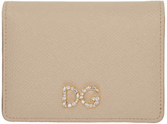 Dolce & Gabbana Pink Crystal Logo Bifold Card Holder
