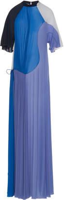 Sportmax Leida Tie-Detailed Color-Block Chiffon Maxi Dress