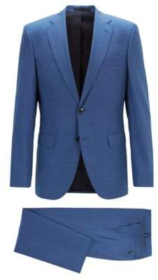 BOSS Hugo Regular-fit suit in melange virgin wool serge 44R Light Blue