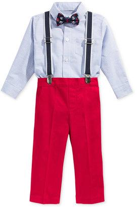 Nautica 4-Pc. Bow Tie, Suspenders, Shirt Bodysuit & Pants Set, Baby Boys (0-24 Months) $50 thestylecure.com