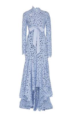 Oscar de la Renta Asymmetric Floral Eyelet Gown