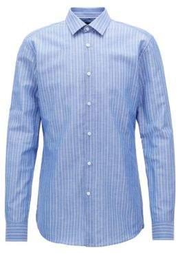BOSS Hugo Pinstriped Cotton Linen Dress Shirt, Slim Fit T-Scott 18 Blue