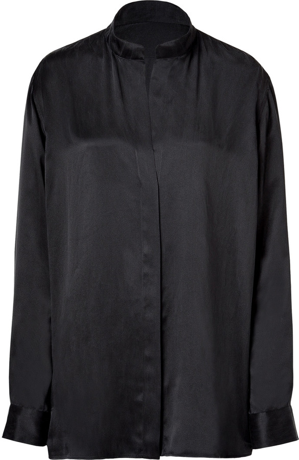 Balmain Black Washed Silk Blouse with Stand Up Collar