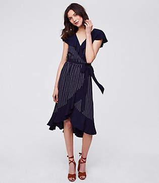 LOFT Petite Pinstripe Ruffle Wrap Dress