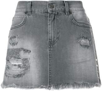 Gaelle Bonheur ripped mini denim skirt