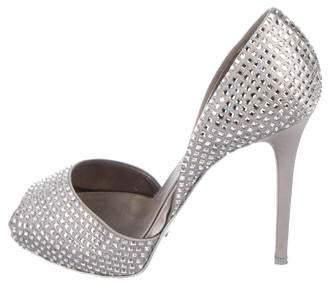 Le Silla Embellished Peep-Toe d'Orsay Pumps