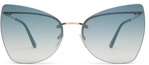 ec7b584193c3a Tom Ford Eyewear - Presley Rimless Cat Eye Sunglasses - Womens - Blue