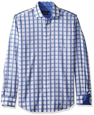 Bugatchi Men's Long Sleeve Fitted Check Jacquard Cotton Shirt