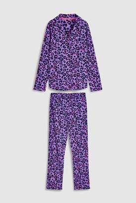 Next Womens Purple Animal Button Through Pyjamas With Ribbon Wrapping