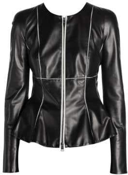 Giorgio Armani Women's Contrast Seam Leather Jacket - Black - Size 44 (10)