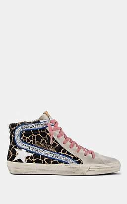 """Golden Goose Women's """"Slide"""" Suede & Calf Hair Sneakers - Brown"""