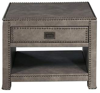 HomeFare Industrial Style Square Grey Faux Leather Trunk Table