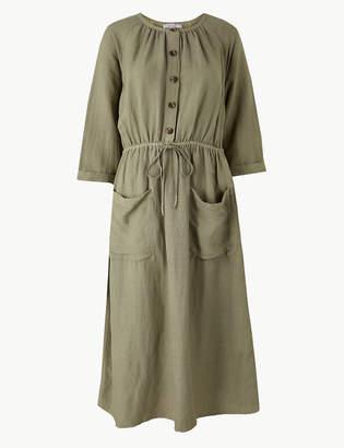 Marks and Spencer Linen Blend 3/4 Sleeve Waisted Midi Dress