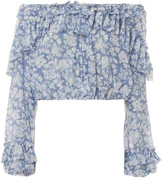 LoveShackFancy Ruffle Popover Blue Top