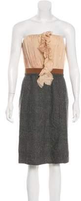 Dolce & Gabbana Silk & Wool-Blend Strapless Dress