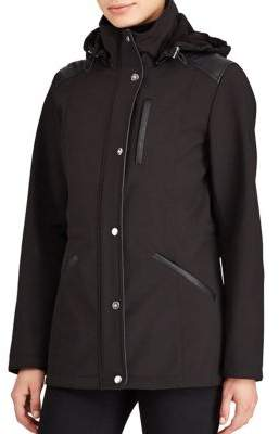 Lauren Ralph Lauren Faux Leather Trim Hooded Coat
