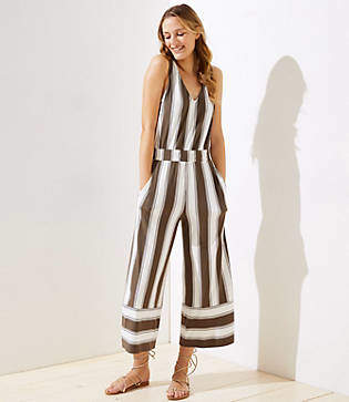 89ecfc3ee041 LOFT Beach Striped Wide Leg Crop Jumpsuit