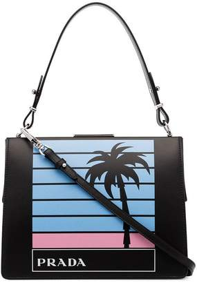 Prada Black palm tree and logo printed leather bag