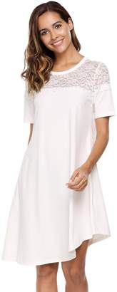 ANGVNS Women's Short Sleeve Lace Patchwork Asymmetrical Casual Tunic Loose A-line T-Shirt Dress