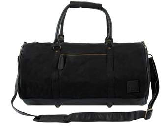 MAHI Leather - Gym Duffle In Black Canvas and Leather