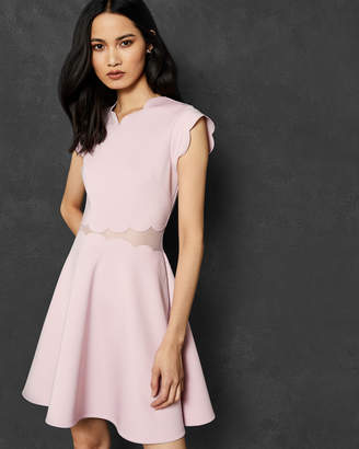 Ted Baker OMARRIA Mesh and scallop skater dress