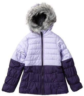 Jessica Simpson Two Toned Puffer With Faux Fur Trim (Big Girls)