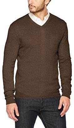 Benetton Men's V Neck Sweater Longsleeve Sweatshirt, (Brown 511), X-Small