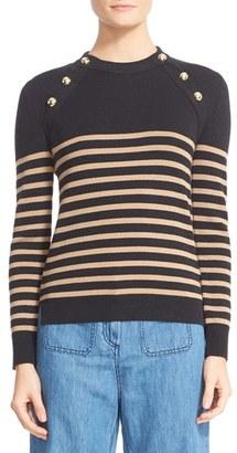 Women's Belstaff Suzy Wool Blend Button Shoulder Sweater $595 thestylecure.com