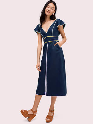 Kate Spade Linen Contrast Trim Dress, Parisian Navy - Size 0