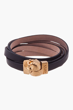 Alexander McQueen Black Nappa Leather Double-Wrap Skull Bracelet