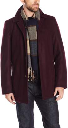 Tommy Hilfiger Men's Wool Melton Walking Coat with Attached Scarf