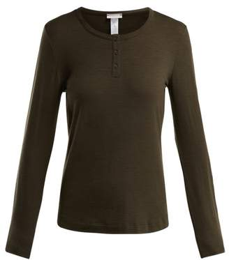 Hanro Hanna Wool Blend Jersey Henley Top - Womens - Dark Green