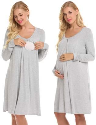 364fc35841e31 Ekouaer Nursing Nightgown Nightdress Hospital Gown Delivery Labor Maternity  Pregnancy Soft Breastfeeding Dress